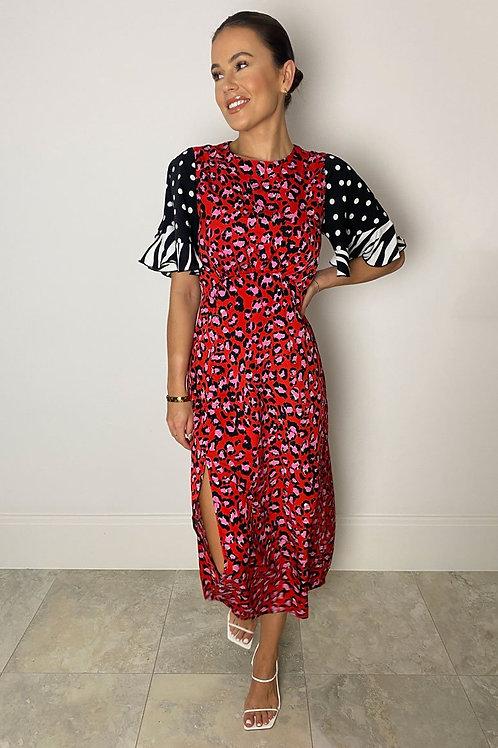 Vera Red/Pink Leopard Midi Dress