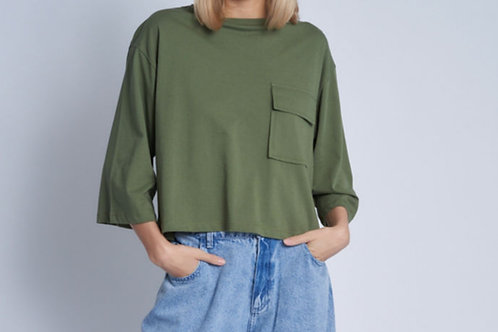 Betsy Olive T-shirt with Patch Pocket