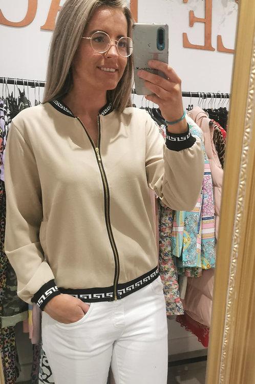 Carolyn beige bomber jacket
