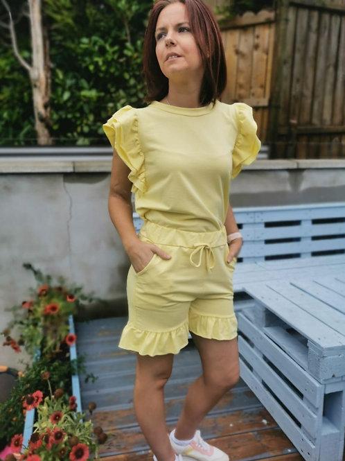 Grace Yellow T-shirt & Shorts Two Piece Set