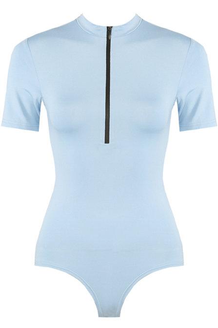 Sonya Blue Zip Bodysuit
