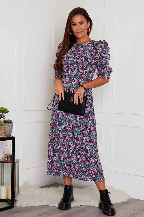 Louisa Frill Sleeves Floral Print Midi Dress