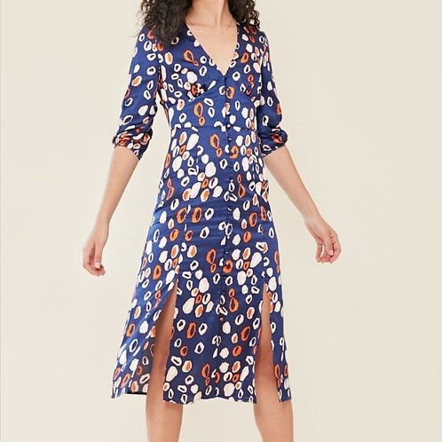 Gale Silk Navy and Orange Leopard Print Midi Dress