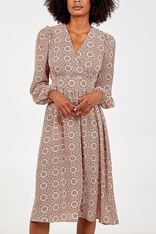 Jessy Frill Shoulder Patterned Midi Dress