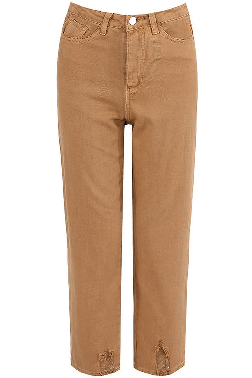 Tracey Mom Jeans with Ripped Trim  in Camel