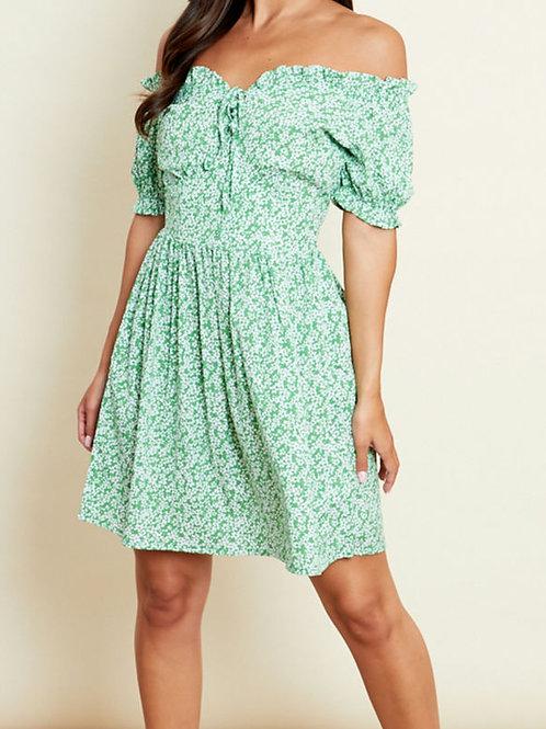 Molly Green Floral Bardot Mini Dress