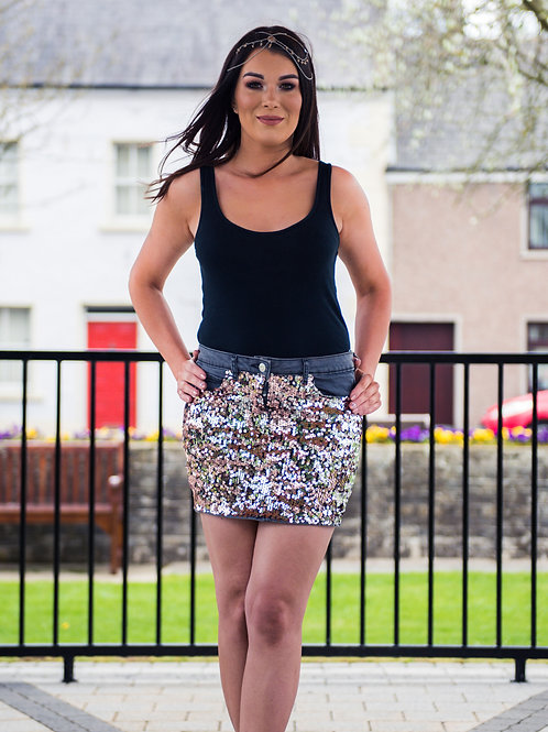 Rose Gold & Silver Sequin Two-tone Grey Denim Skirt