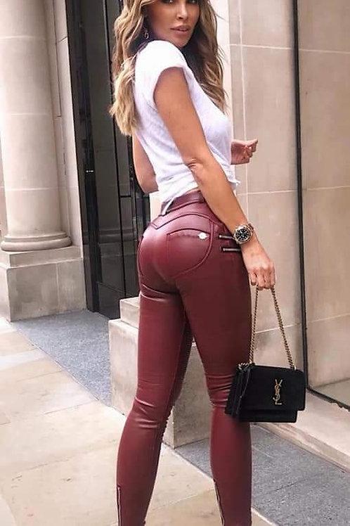 Hugz Jeans - Wine biker faux leather