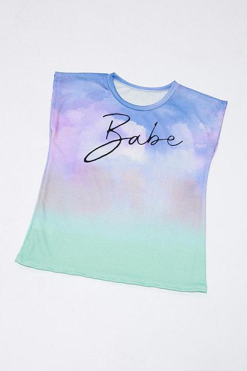 Babe Tie-Dye Sleeveless Top in Purple