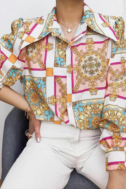 Sara Pink Print Shirt