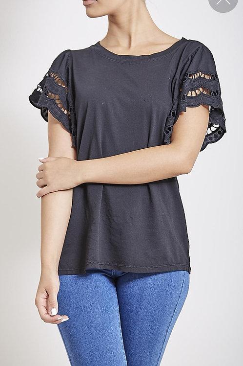 Sabrina Frill Sleeve T-shirt in Black