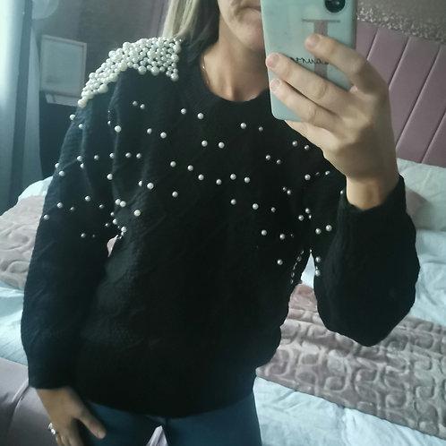 Molly Short Knit Pearl Jumper in Black