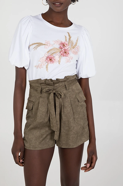 Chloe Floral Puff Sleeve T-shirt