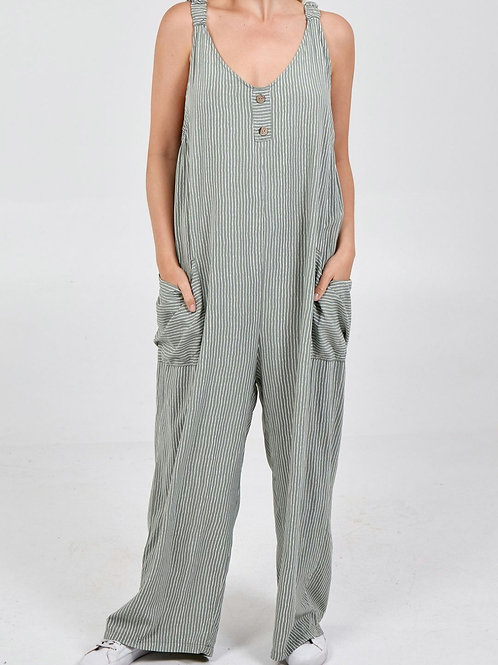 Nora Striped Jumpsuit in Khaki