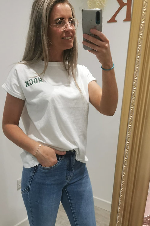 Rizo Rock T-shirt in White and Green