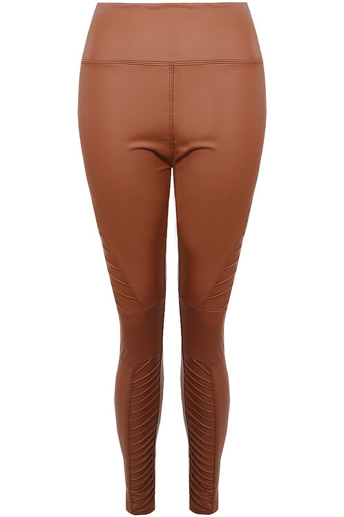 Kirsty Biker Faux Leather Leggings In Brown