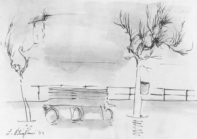 Tel Aviv Boardwalk with Bench, 1954