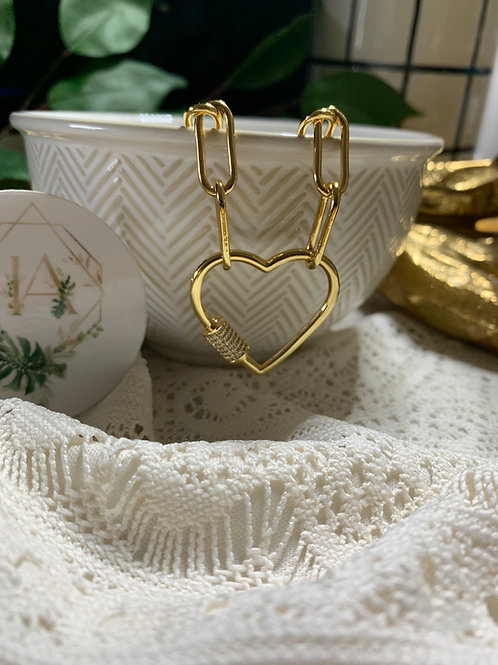 Heart Carabiner  Lock Clasp Necklace