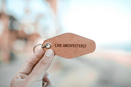 Live Unexpectedly Leather Motel Keychain
