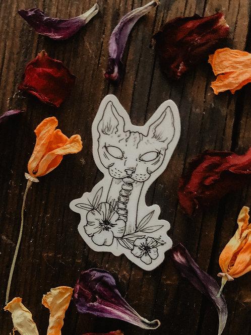 Sphynx + Blooms Sticker