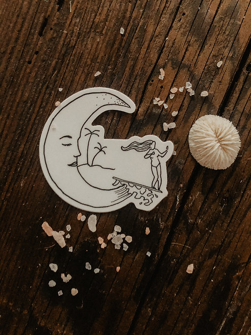 Moon Wave Rider Sticker