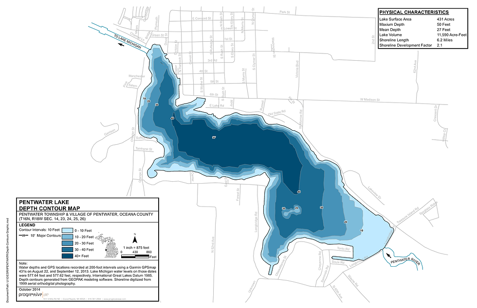 Pentwater Lake Depth Contour Map and Phy