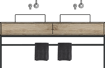 WT02 UB Stahl Ansicht Doppelwaschtisch H