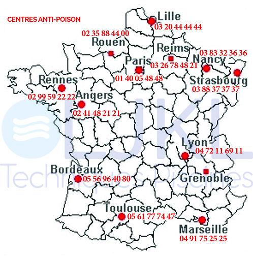 numéros des centres anti-poison de France