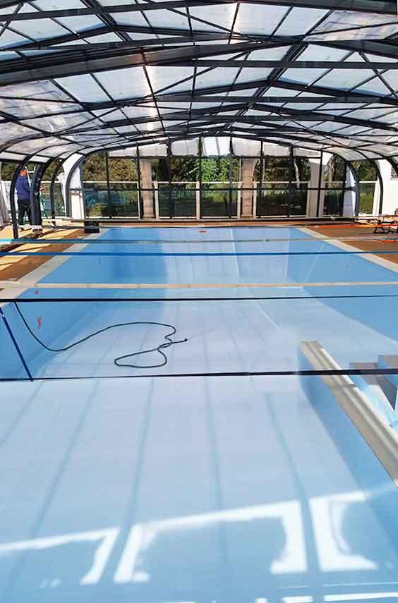 Rénovation étanchéité de piscine d'un camping par la pose d'une membrane armée