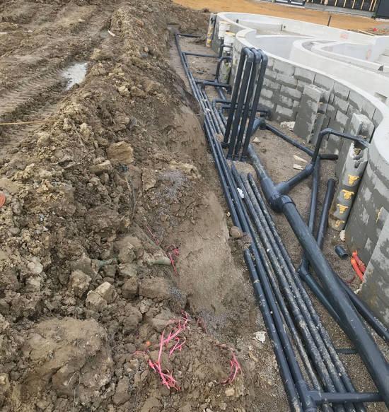 réseau raccordement hydraulique bassin