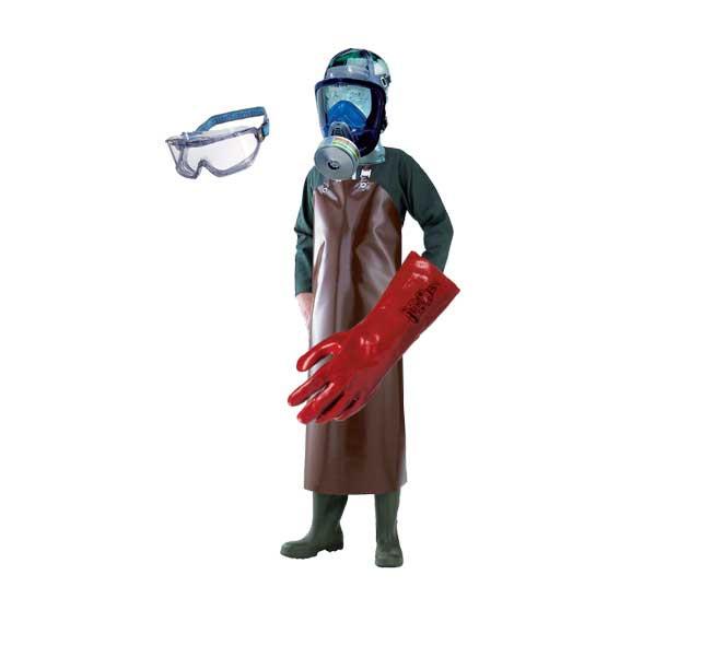 Équipement de sécurité lors de manipulation de produits chimiques
