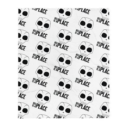 Hell Is A Place White Logo Throw Blanket