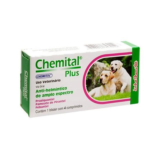Vermífugo Chemital para Cães Plus 4 Comprimidos