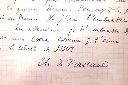 Handwriting and signature of Charles de Fouauld