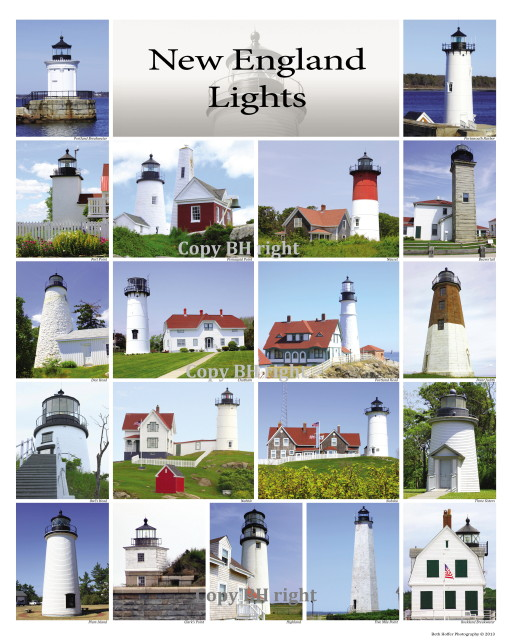 New England Lighthouses Poster