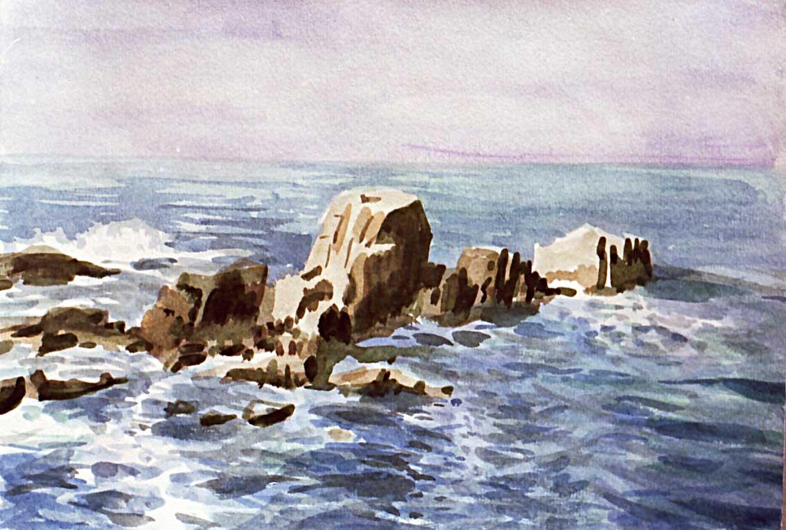 Sea And Rocks Painting