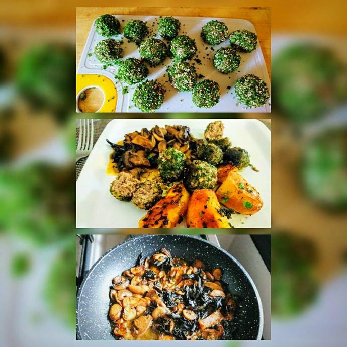 Boulettes de viande persillées, cœur de foie gras, pommes de terres rôties, sauce forestière pour 2