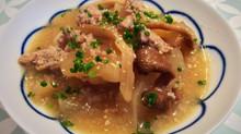 Daïkon aux pleurotes, poulet haché et sauce miso pour 4 personnes