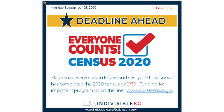Make sure everyone you know (and everyone they know) have completed the census by 9/30.  Funding for important programs is on the line, and our area has been slow to complete their census info.  cwww.2020census.gov