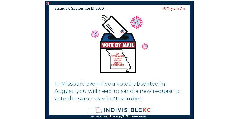Help spread the word:  In Missouri, even if you voted absentee in August, you will need to send a new request to vote the same way in November. www.vote.org/absentee-ballot/