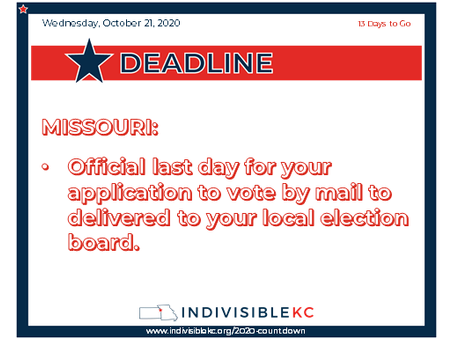 If you're mailing your ballot, please do it ASAP.  Mailing today gets into the USPS system two weeks in advance of the deadline.