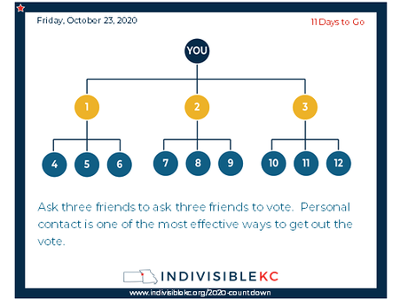 """Voter turn out is critical.  It's easy to ask a favor of a friend.  A simple text will do, """"This election is super important.  Can I ask you to ask three of your friends to make sure they vote?"""""""