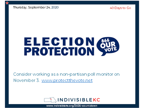 Consider working as a non-partisan poll monitor on November 3.   www.protectthevote.net
