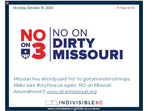 "Missouri has already said ""no"" to gerrymandered maps.  Make sure they hear us again.  NO on Missouri Amendment 3. www.cleanmissouri.org"