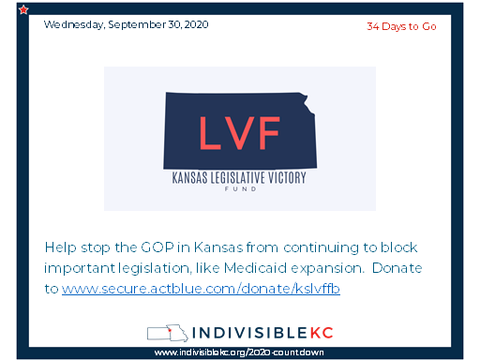 Help stop the GOP in Kansas from continuing to block progressive legislation, like Medicaid expansion.  Donate to www.secure.actblue.com/donate/kslvffb