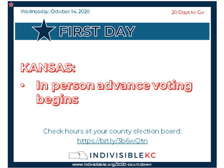 KANSAS: In person advance voting begins Check hours at your county election board: https://bit.ly/3b6wQtn