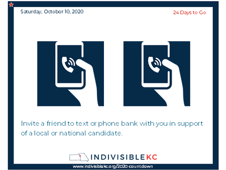 """Invite a friend to text or phone bank with you in support of a local candidate. Our local and """"down ballot"""" candidates need lots of support, but if you want to get involved at the national level, you can sign up here to help defeat Trump: www.go.joebiden.com/page/s/volunteer"""