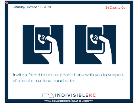 "Invite a friend to text or phone bank with you in support of a local candidate. Our local and ""down ballot"" candidates need lots of support, but if you want to get involved at the national level, you can sign up here to help defeat Trump: www.go.joebiden.com/page/s/volunteer"