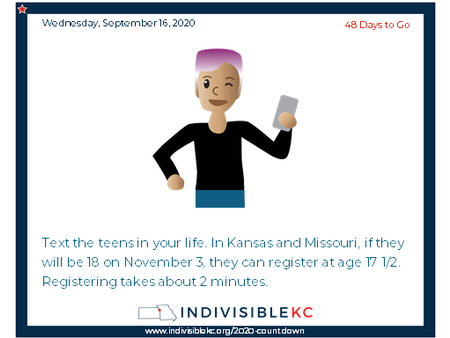 Here's a great link to help young folks register to vote: www.rockthevote.org
