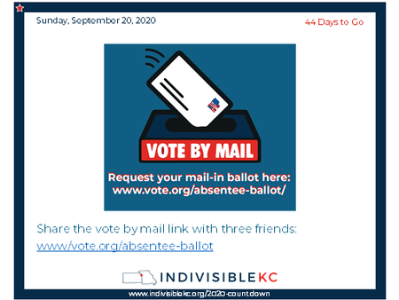 Share the vote by mail link with three friends:  www/vote.org/absentee-ballot